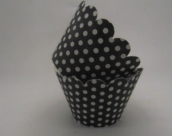 12 BLACK and WHITE Polka Dot  Cupcake Wrappers... Fully Assembled, Mickey Mouse, Minnie Mouse, Lady Bug, Bridal Shower, Wedding, Baby Shower