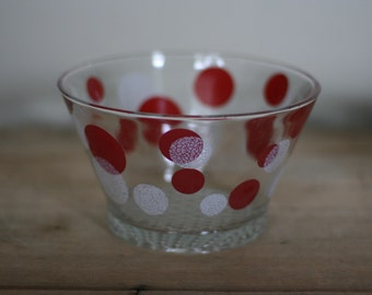 vintage polka dot glass ice bucket