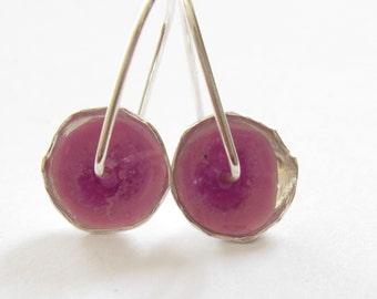 Pink Earrings.Everyday Earrings.Small Earrings.Light Dangle Earrings.Under 40.Silver and Resin Earrings.Silver Earrings.Hand Made jewelry