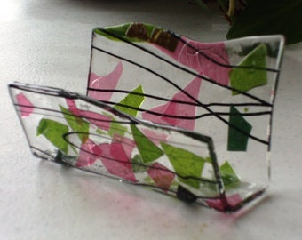 Fused Glass Business Card Holder -  Pinks and Greens 12814