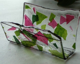 Fused Glass Business Card Holder -  Pinks and Greens 128143