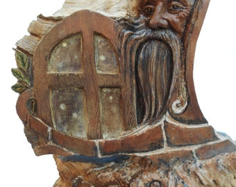 Through the Window Woodland Spirit Wooden Carving Sculpture 2014