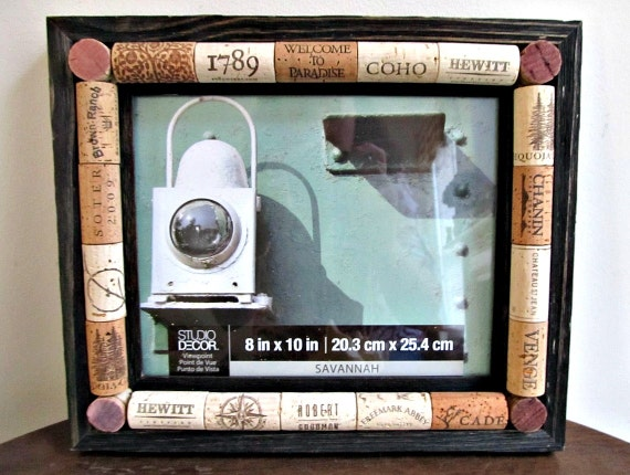 Wine Cork Picture Frame - Rustic Brown Barnwood Frame - 8 x 10 Photo ...