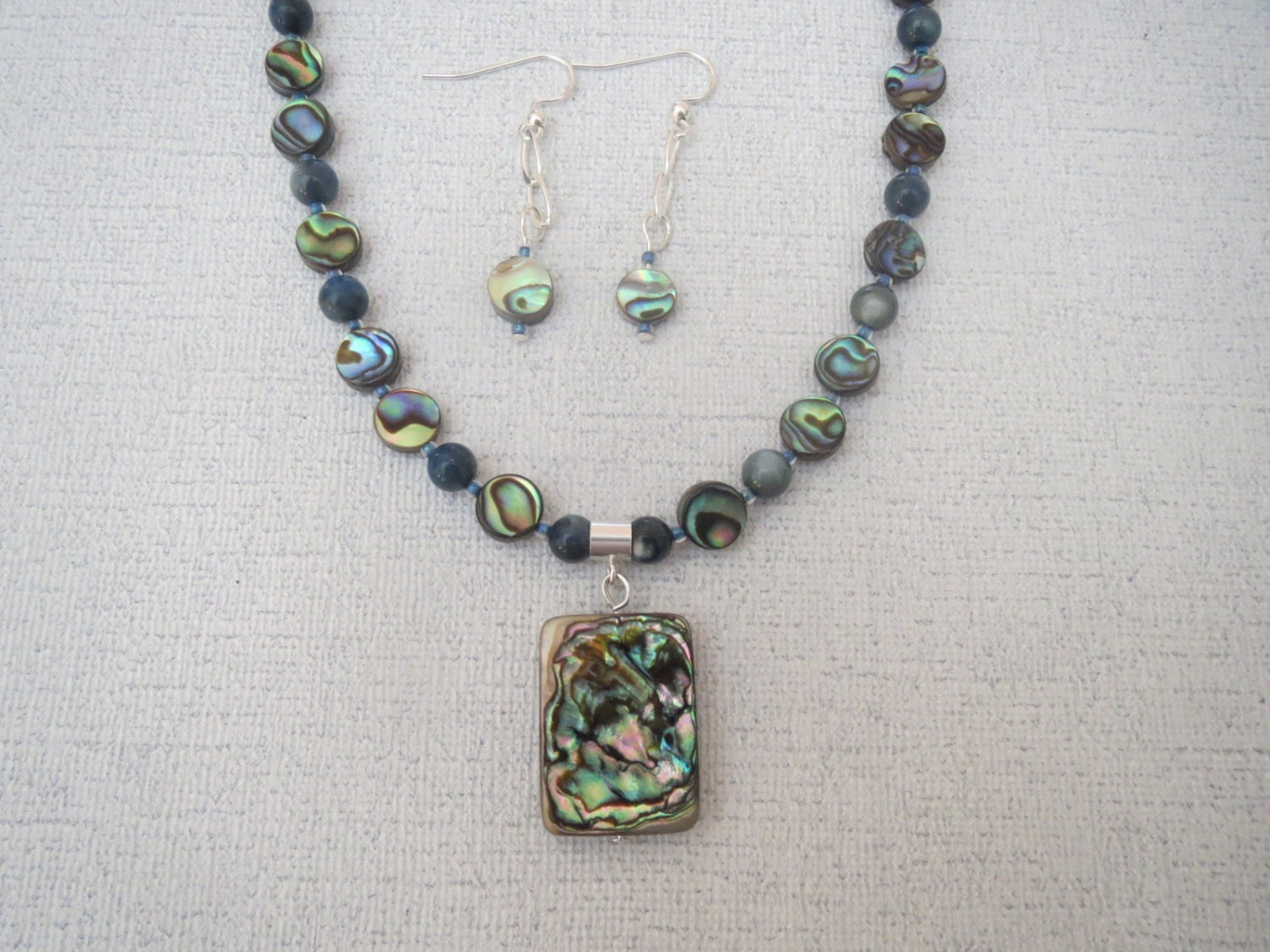 abalone shell necklace with pendant and earrings sterling