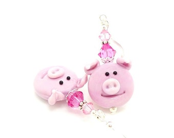 Pink Pig Earrings, Farm Animal Earrings, Pig Jewelry, Lampwork Earrings, Animal Earrings, Glass Earrings, Animal Jewelry, Fun Earrings