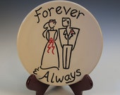 Wedding or Anniversary Wall Plate with Bride and Groom - Black and Red