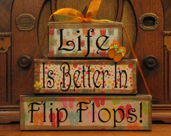 Summer Sign, Summer Decor, Summer Blocks - Life Is Better in Flip Flops - Extra Large Word Stacker