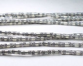 5.5mm Karen Hill Tribe Stamped Leaf Tube Beads Fine Silver Spacer Bead 20 pcs. HT-233