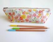Watercolor Floral Pen or Pencil Case, Zippered Case, Linen Cotton Designer Watercolor Fabric
