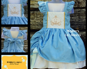 Cinderella Inspired Embroidered Spring and Summer girls dress, size 6m, 12m, 2t, 3t, 4t, 5t, 6, 8, 10, 12