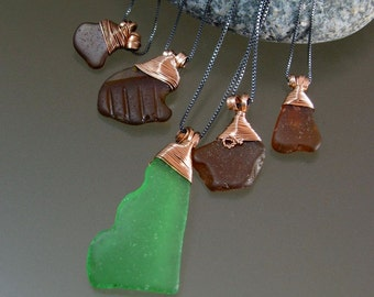 Beach glass pendants on oxidized sterling silver chain, hand formed phosphor bronze bail and wrap, Finger Lakes, NY
