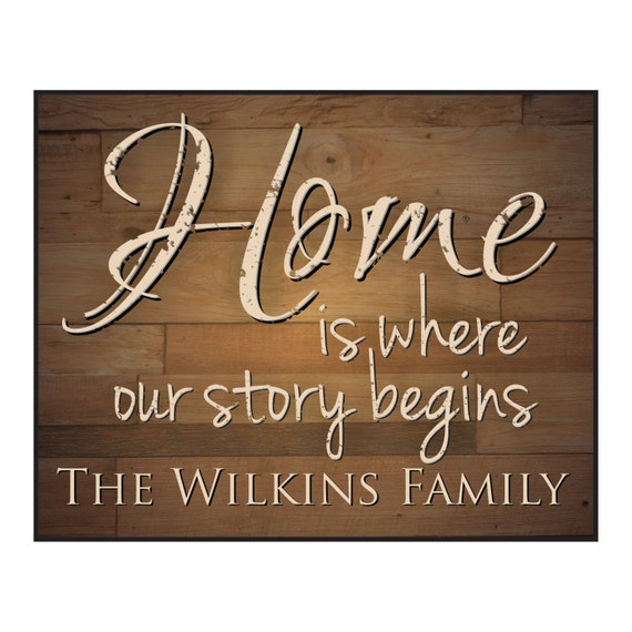 Personalized Family Name Sign Home is where our story begins Rustic Wood Sign