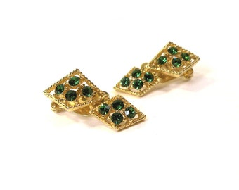Vintage signed Lisner Emerald Green Rhinestone Cocktail Party Earrings