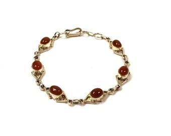 Vintage Sterling Silver & Carnelian Gemstone Link Bracelet