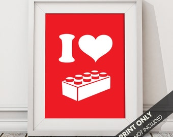 I LOVE BUILDING - Art Print (Featured in Cherry Red) Keep Calm Art Prints and Posters