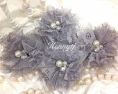 Elena LACE: 4 pieces GREY Gray Small Lace Mesh Flowers With rhinestone Pearl Center Poof Flowers Hair accessories
