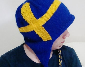 Hand Knit Sweden Flag Hat with ear flap Men Hat in Blue Yellow Swedish Gift for Him, Mens Gift