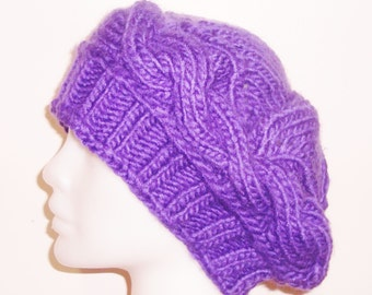 Womens hat Purple Hat Purple Knit Hat Cable  knit hat Women's Winter Hats womens gift for her valentines day gift, ready to ship