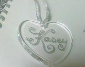Glass Crystal Heart Ornament Engraved Personalized