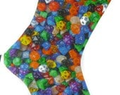 D20 Christmas Stocking, Dungeons and Dragons Stocking, D20 Xmas Stocking, Dice Christmas Stocking, Christmas Dice Stocking
