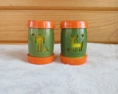 St Labre Indian School Avocado & Orange Vintage Flower Salt and Pepper Shakers