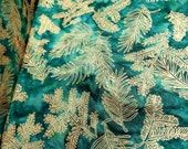 Island Batik Cotton Wine Cooler Green Golden Fern from Bali IMS14C-H1 HALF YARD