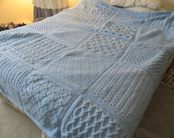 Hand Knit Light Blue Sampler Afghan Blanket