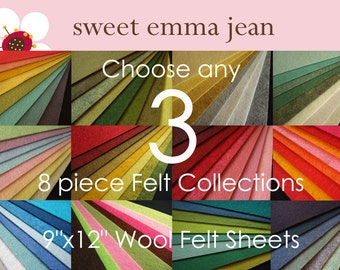 Choose any 3 eight piece Felt Collections - High Quality Wool Felt Assortments