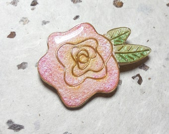 Rose pin in Polymer Clay and Resin (0887)