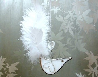 White Bird Stained Glass Suncatcher Feather Christmas Tree Ornament Handmade OOAK