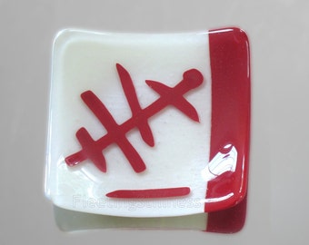 Red White Fused Glass Plate Abstract Hieroglyphs Serving Dish Sushi Organic Design HandmadeFused Glass
