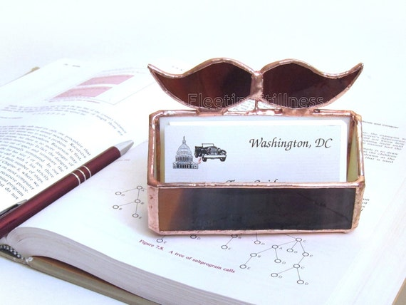 Business Card Holder Stained Glass Mustache for Him Office Handmade OOAK