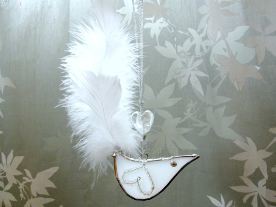 White Bird Stained Glass Suncatcher Feather Christmas Tree Ornament Handmade OOAK