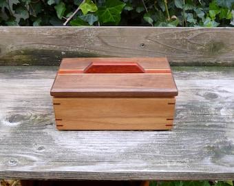 Small Wooden Keepsake Box, Butternut & Walnut w/ Padauk Accents, Custom Wooden Box, Wood Jewelry Box, Handmade Wooden Box