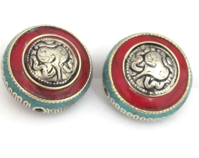 1 BEAD -  Reversible Tibetan red resin bead with turquoise , brass inlay and tibetan silver conch design - BD650
