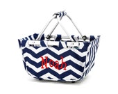 Boy's Personalized Easter Basket Market Tote Navy Chevron Toy Bucket Ships Next Day