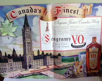 1938 Canada's Finest Seagram's VO. Canadian Rare Old Blended Canadian Whiskey, Original Magazine double page, Parliament Building in Ottawa