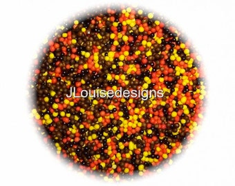 Fall/Autumn Nonpareils Edible Sprinkles Cakepops Cupcake CandyConfetti Decorations 2oz.
