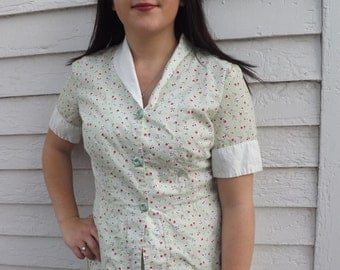 50s Cherry Print Top Cotton Blouse Apples Pears Fruit Green White Striped Floral Rockabilly 40 Bust L