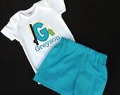 Boys' Personalized Fish  Short Sleeve Shirt or Bodysuit with Optional Shorts