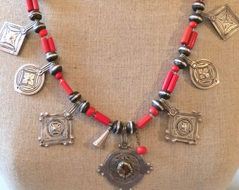 Vintage Moroccan Ighram necklace with old silver pendants