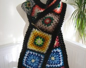 Granny square scarf ,afghan crochet, warm, long shawl , black, handmade, lady gift, patchwork, winter, unique design, hippie style, bohemian