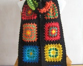 Granny square scarf, crochet, warm, long, black, handmade, patchwork, winter