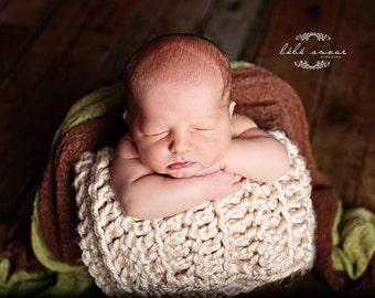 Newborn Photo Prop Chunky Baby Blanket Cream Crochet Handmade Photography Prop