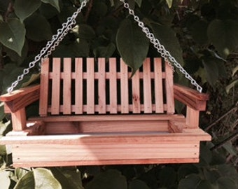 Wood Bird Feeder, Cedar Bird Feeder, bird feeder, Swing Bird Feeder - Cedar wood, optional personalization