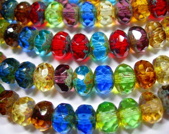 25 9x6mm Mixed Jewel Tone Picasso Czech glass Rondelle beads