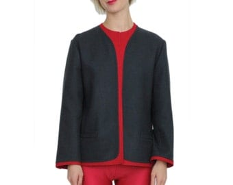 Louis Féraud Designer Futurist Gray & Crimson Pure Wool Boxy Blazer / Jacket / S / M / L