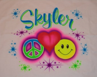Airbrush Pillowcase  Peace Love & Happiness Personalized w/ Name Airbrush Pillow Case