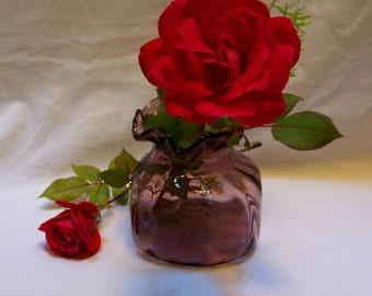 Vase, Pomegranate Vase, Glass Purse, Amethyst Glass, Amethyst Glass