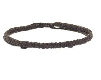 Fair Trade Skinny Brown Wax Cotton Weave Thai Buddhist Wristband Handcrafted Wristwear